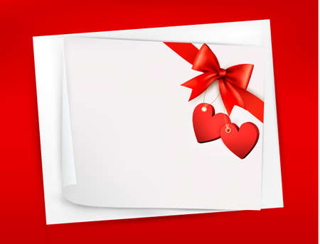 Valentine background with red gift bow and two hearts. Stock Vector - 17473536