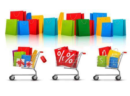 negozio: Sfondo con sacchetti di colore dello shopping e carrelli della spesa con vendita. Concetto di sconto. Vettoriali