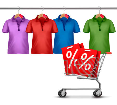 image size: Shirts hanging on a bar and a shopping cart. Concept of discount shopping.
