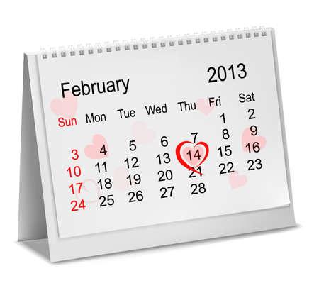 Valentine's Day in calendar. Stock Vector - 17473543