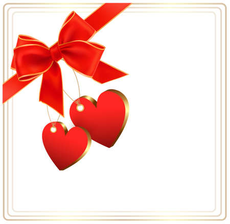 Valentine background with red gift bow and two hearts. Stock Vector - 17473546