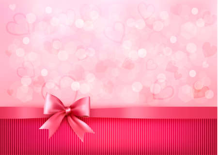 Holiday background with gift pink bow and ribbon. Valentines Day. Illustration