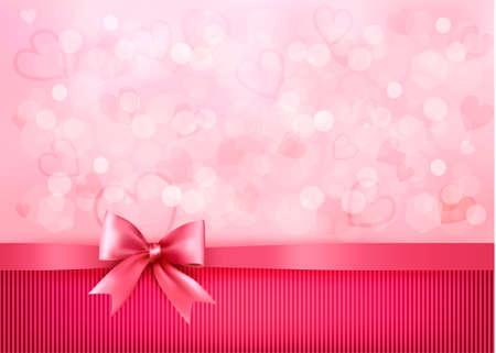 moño rosa: Vacaciones de fondo con regalo lazo rosa y la cinta. Valentines Day. Vectores
