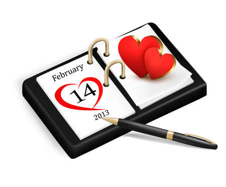 Valentines Day in calendar.  Vector