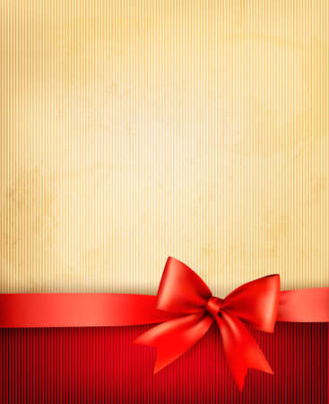 Vintage background with red gift bow and ribbon on old paper. Stock Vector - 17473557