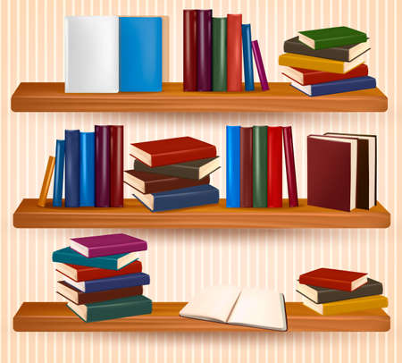 Bookshelf with colorful books and clock  Vector illustration  Vector