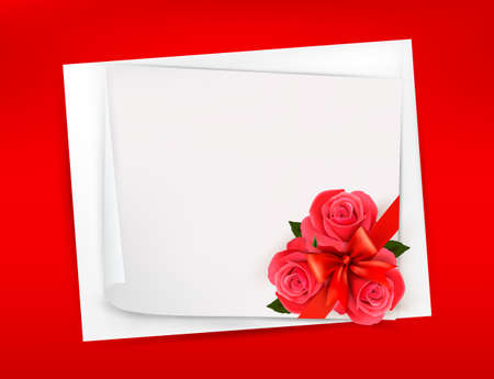 rose frame: Holiday background with sheet of paper and red flowers  Valentines background  Vector