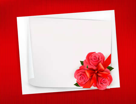 Holiday background with sheet of paper and red flowers  Valentines background  Vector Vector