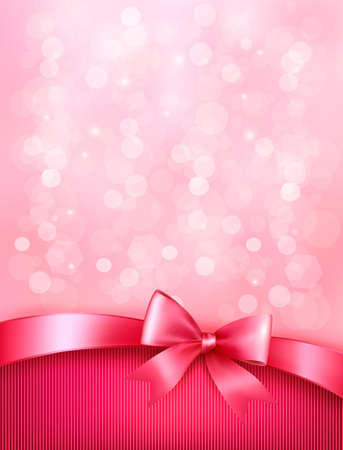 Elegant holiday background with gift pink bow and ribbon  Vector Illustration