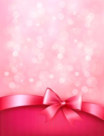 moño rosa: Vacaciones de fondo elegante con regalo lazo rosa y cinta Vector Vectores