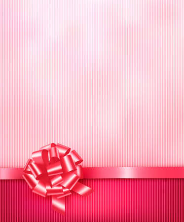 Elegant holiday background with gift pink bow and ribbon. Vector Stock Vector - 17758133