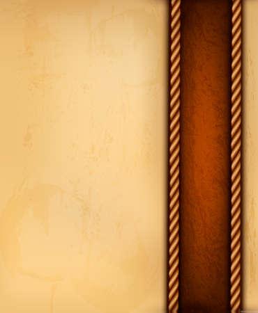 Fond de cru avec le vieux papier et de cuir brun. Vector illustration.