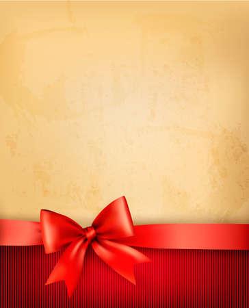 happy birthday party: Fondo de la vendimia con arco de regalo rojo y la cinta en el papel viejo. Vector ilustraci�n.