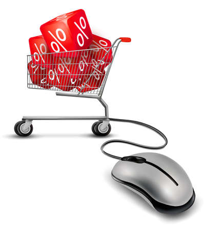 Computer mouse and a shopping cart with cube in it. concept of discount. Vector. Stock Vector - 17758130