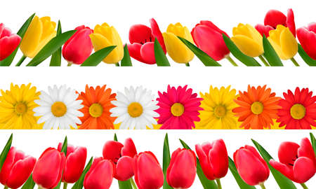 Spring flower borders. Vector.