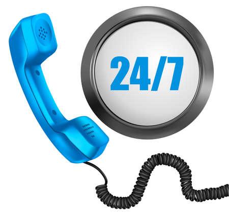 cable telefono: Teléfono y botón 247. 24 horas de día, 7 días a la semana concepto de apoyo. Vector