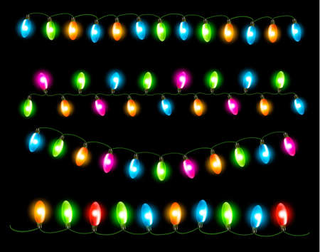 Strings of holiday lights on black background. Vector illustration Vector