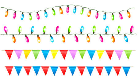 Strings of holiday lights and birthday flags white background. Vector illustration. Stock Illustratie