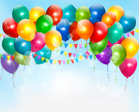 Holiday background with colorful balloons. Vector. Vector