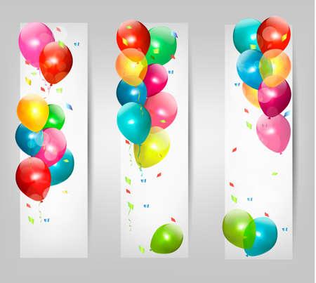 serpentinas: Banderas de fiesta con globos de colores. Vector.
