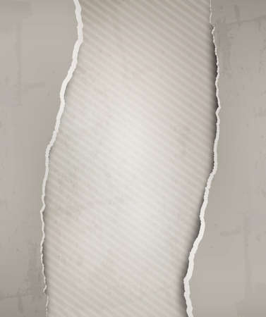 Old background with grey ripped paper and old wall. Vector illustration Vector