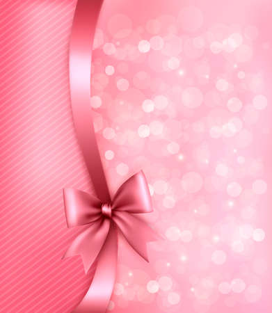 and pink ribbon: Holiday pink background with old_paper and gift bow and ribbon. Vector Illustration