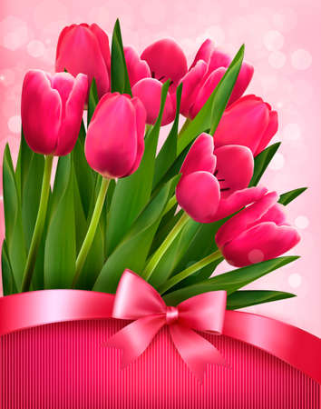 mothers day background: Holiday background with pink flowers and gift bow with ribbon. Vector