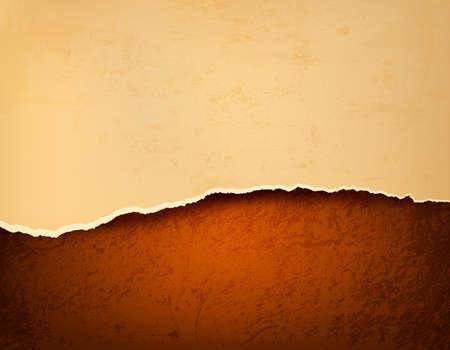 lagrimas: Fondo retro con el papel rasgado viejo y de cuero marrón. Ilustración vectorial