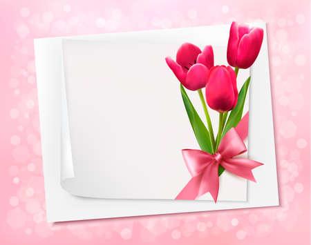 flores de cumpleaños: Vacaciones de fondo con hojas de papel y flores. Vector ilustración. Vectores
