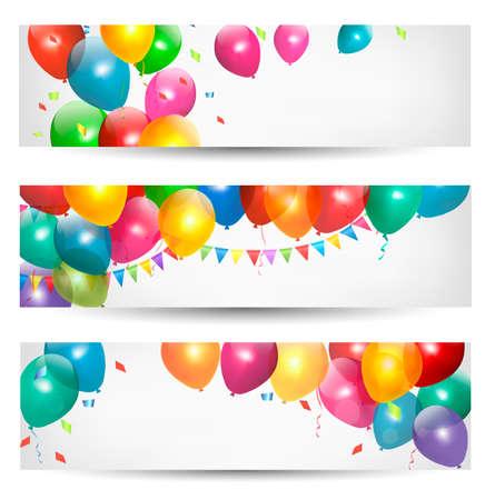 aniversario: Banderas de fiesta con globos de colores. Vector.