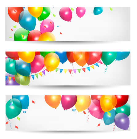 red balloons: Holiday banners with colorful balloons. Vector.