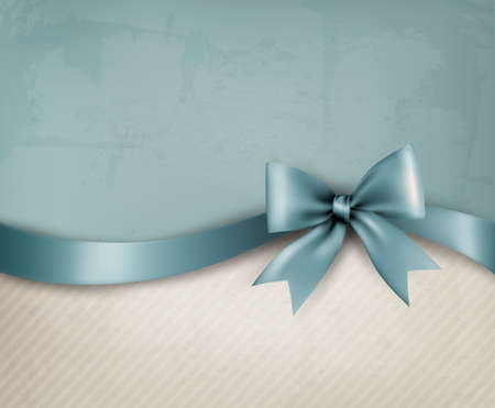 holiday shopping: Holiday background with old_paper and gift bow and ribbon. Vector