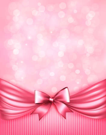 pink satin: Holiday pink background with gift glossy bow and ribbon Illustration