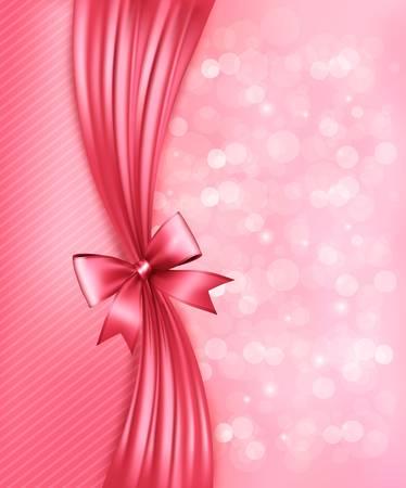 lazo rosa: Holiday fondo rosa con lazo de regalo brillante y cinta