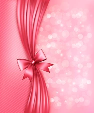 red ribbon bow: Holiday pink background with gift glossy bow and ribbon Illustration