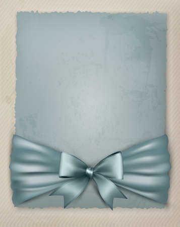 white satin: Holiday background with gift bow and ribbon on old paper illustration.