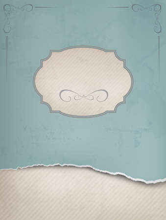 Vintage background with ripped old paper illustration. Vector