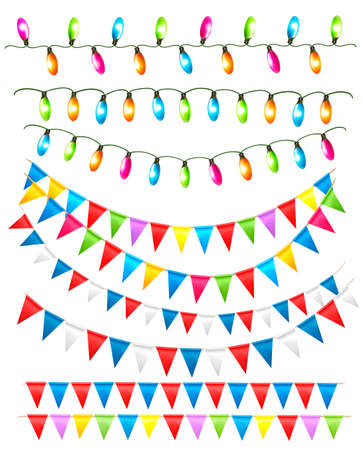Strings of holiday lights and birthday flags white background illustration