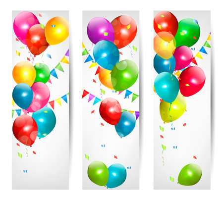 Three holiday banners with colorful balloons and carnival flags Vector