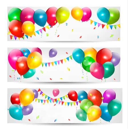 globos de cumpleaños: Banderas de fiesta con globos de colores Vectores