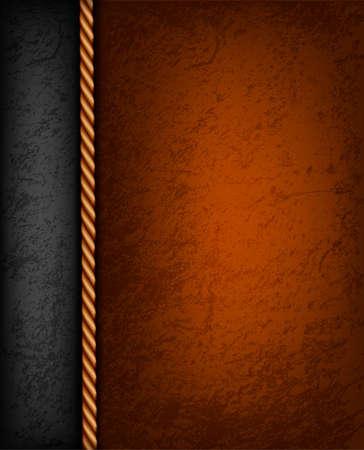 Fondo de la vendimia con la ilustración de color marrón y de cuero negro.
