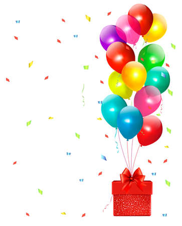 Holiday background with colorful balloons and gift box. Vector Vector