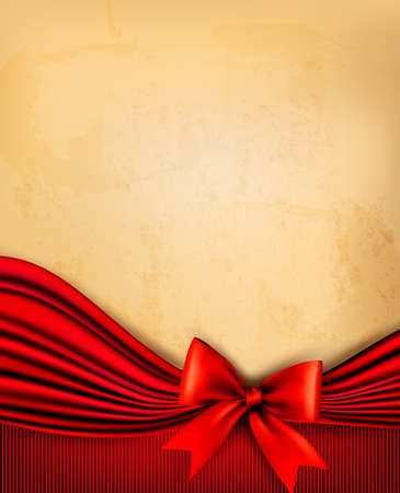 Vintage background with old paper with red gift bow and red ribbon. Vector Stock Vector - 19279511