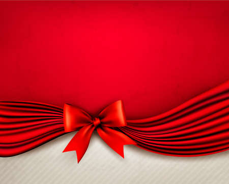 Holiday red background with gift glossy bow and ribbon. Vector illustration. Stock Vector - 19279508