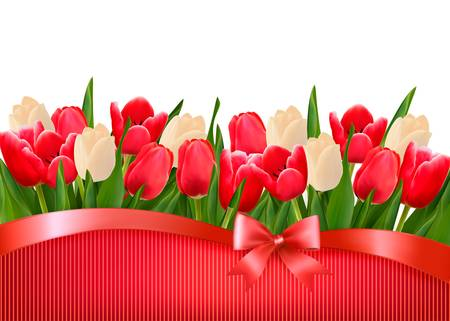Holiday background with bouquet of red and white flowers with gift bow and ribbons. Vector.