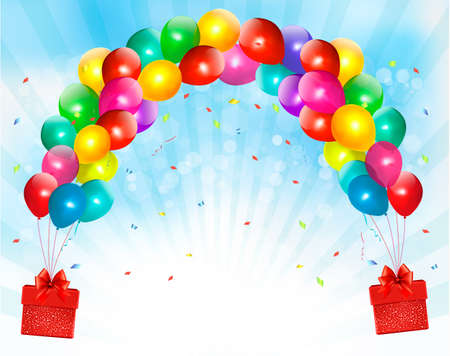 balloon border: Holiday background with colorful balloons and gift boxes. Vector