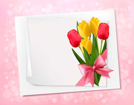 mothers day background: Holiday background with sheet of paper and colorful flowers. Vector