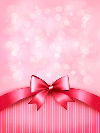 Holiday pink background with gift glossy bow and ribbon. Vector. Stock Illustratie