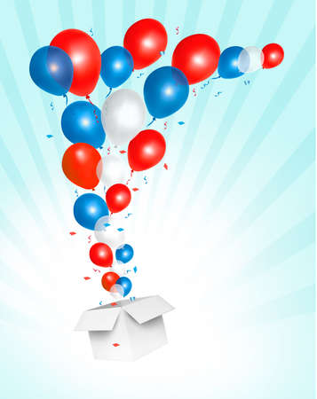 Holiday background with colorful balloons and open box. Vector Vector