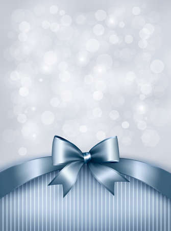 Holiday blue background with gift glossy bow and ribbon. Vector Vector